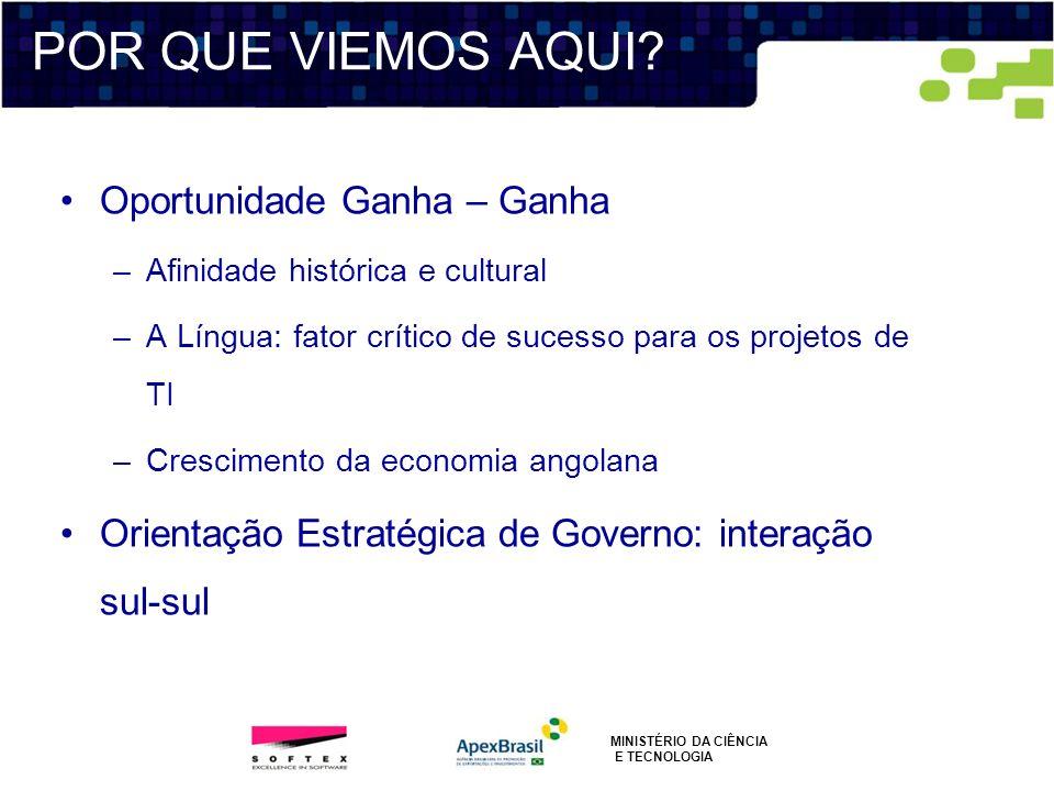 Oportunidade Ganha – Ganha –Afinidade histórica e cultural –A Língua: fator crítico de sucesso para os projetos de TI –Crescimento da economia angolan