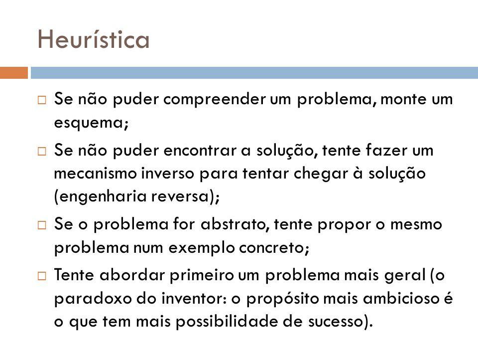 Heurística Se não puder compreender um problema, monte um esquema; Se não puder encontrar a solução, tente fazer um mecanismo inverso para tentar cheg