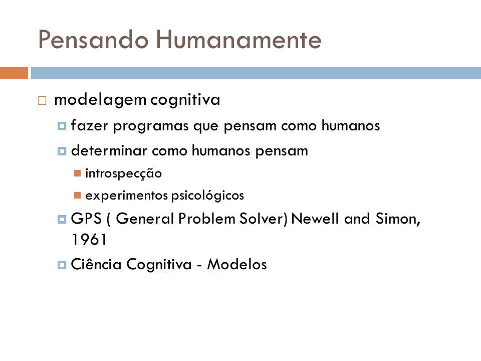 Pensando Humanamente modelagem cognitiva fazer programas que pensam como humanos determinar como humanos pensam introspecção experimentos psicológicos