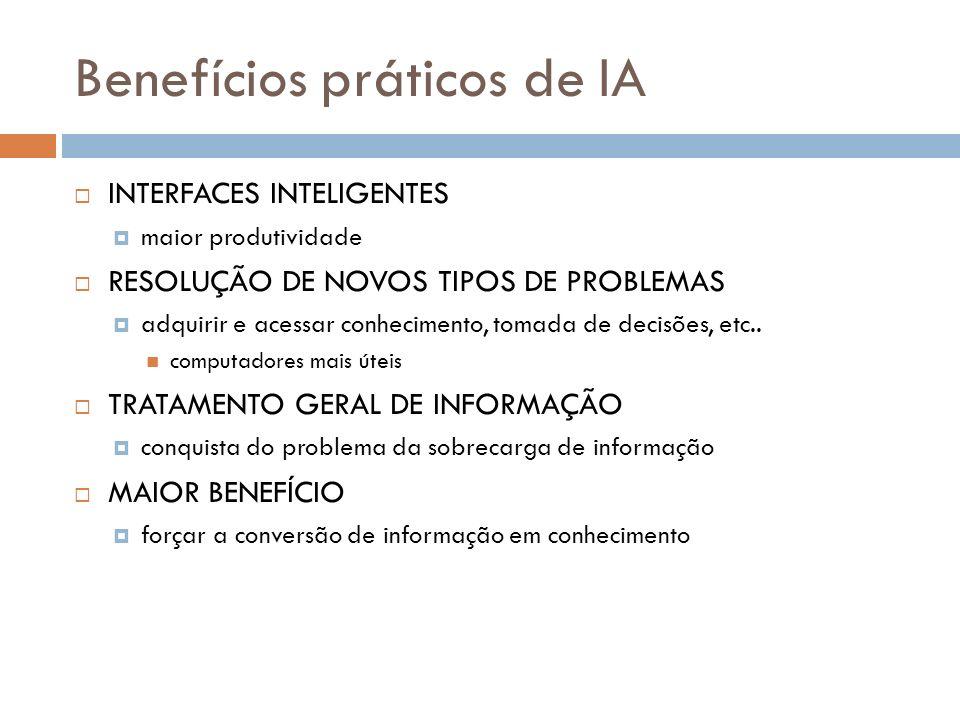 Benefícios práticos de IA INTERFACES INTELIGENTES maior produtividade RESOLUÇÃO DE NOVOS TIPOS DE PROBLEMAS adquirir e acessar conhecimento, tomada de