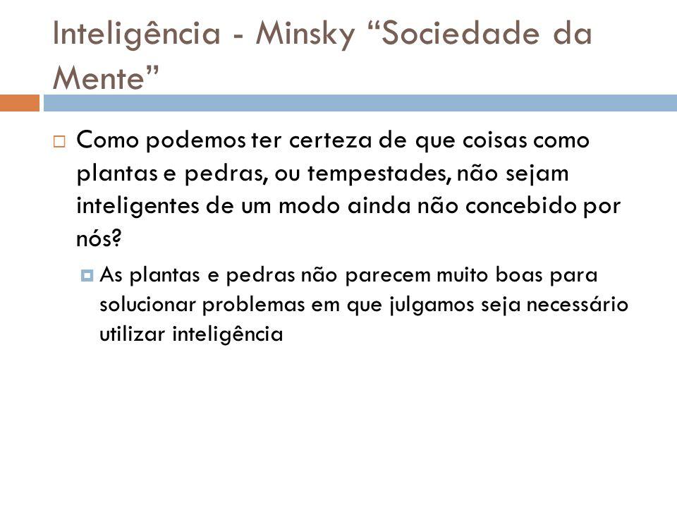 Inteligência - Minsky Sociedade da Mente Como podemos ter certeza de que coisas como plantas e pedras, ou tempestades, não sejam inteligentes de um mo