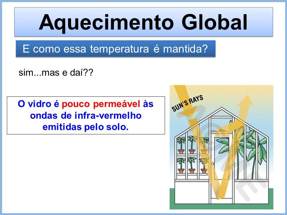 Aquecimento Global E como essa temperatura é mantida? sim...mas e daí?? O vidro é pouco permeável às ondas de infra-vermelho emitidas pelo solo.