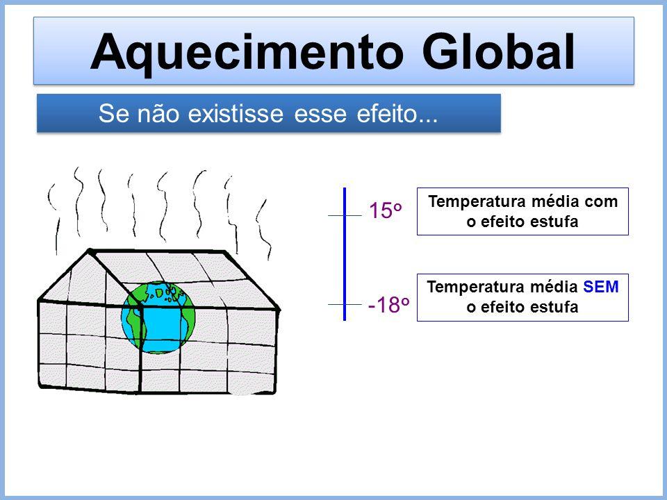 15 o -18 o Temperatura média com o efeito estufa Temperatura média SEM o efeito estufa Se não existisse esse efeito...