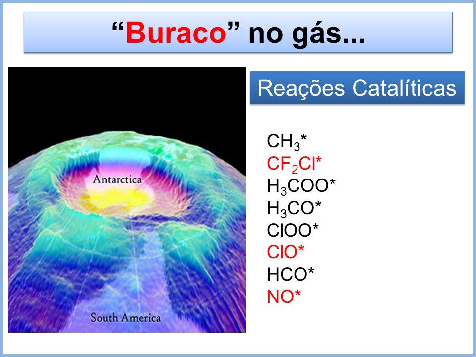 Buraco no gás... Reações Catalíticas CH 3 * CF 2 Cl* H 3 COO* H 3 CO* ClOO* ClO* HCO* NO*