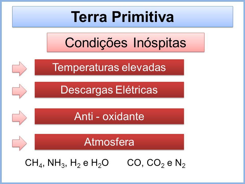 Terra Primitiva Condições Inóspitas Temperaturas elevadas Descargas Elétricas Anti - oxidante Atmosfera CH 4, NH 3, H 2 e H 2 OCO, CO 2 e N 2
