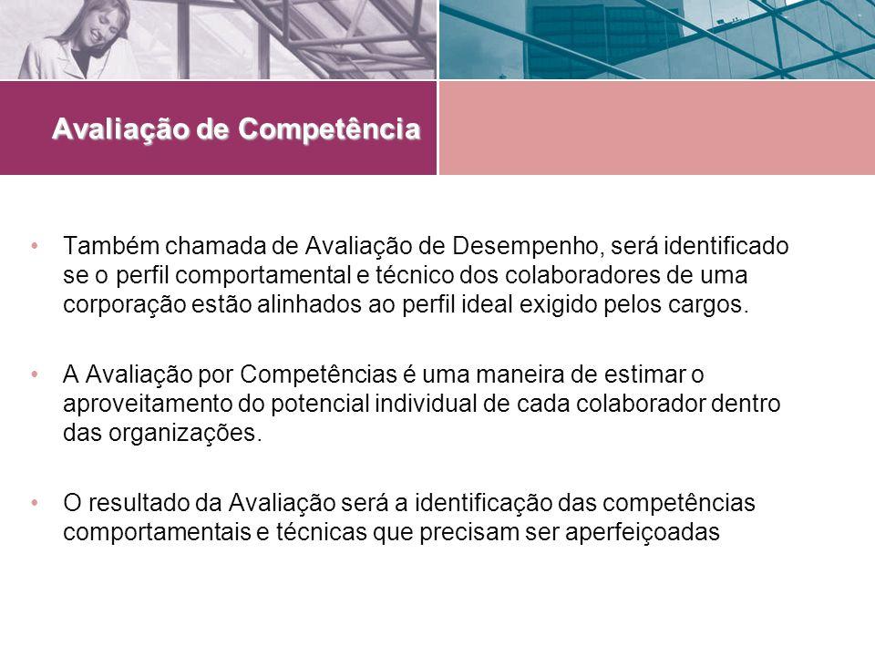 Avaliação de Competência Também chamada de Avaliação de Desempenho, será identificado se o perfil comportamental e técnico dos colaboradores de uma co
