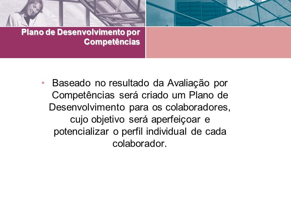 Plano de Desenvolvimento por Competências Baseado no resultado da Avaliação por Competências será criado um Plano de Desenvolvimento para os colaborad