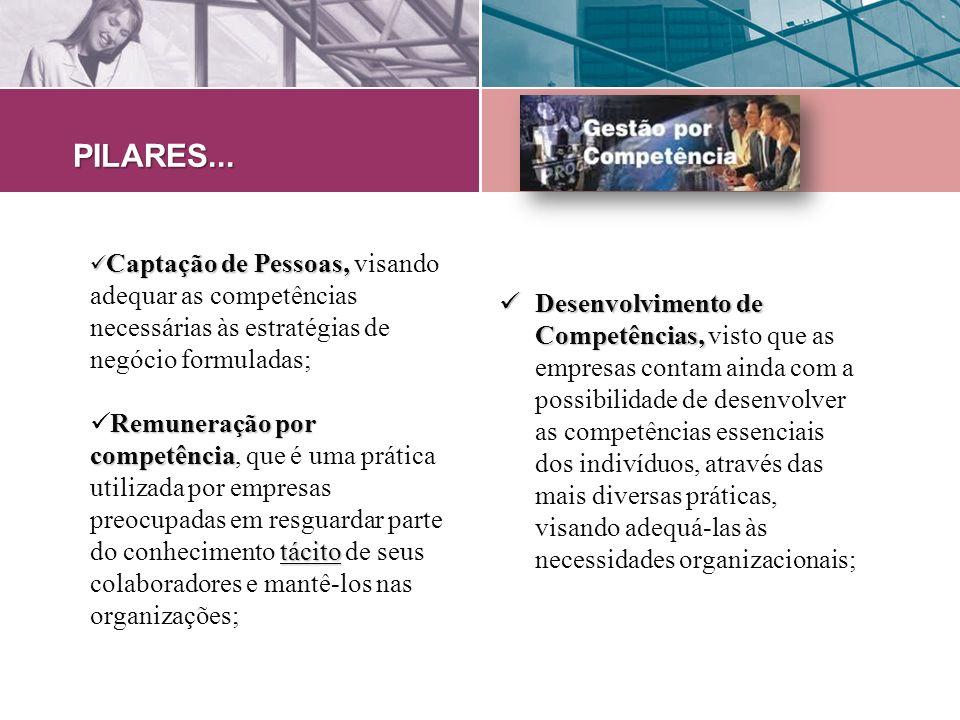 Captação de Pessoas, Captação de Pessoas, visando adequar as competências necessárias às estratégias de negócio formuladas; Remuneração por competênci