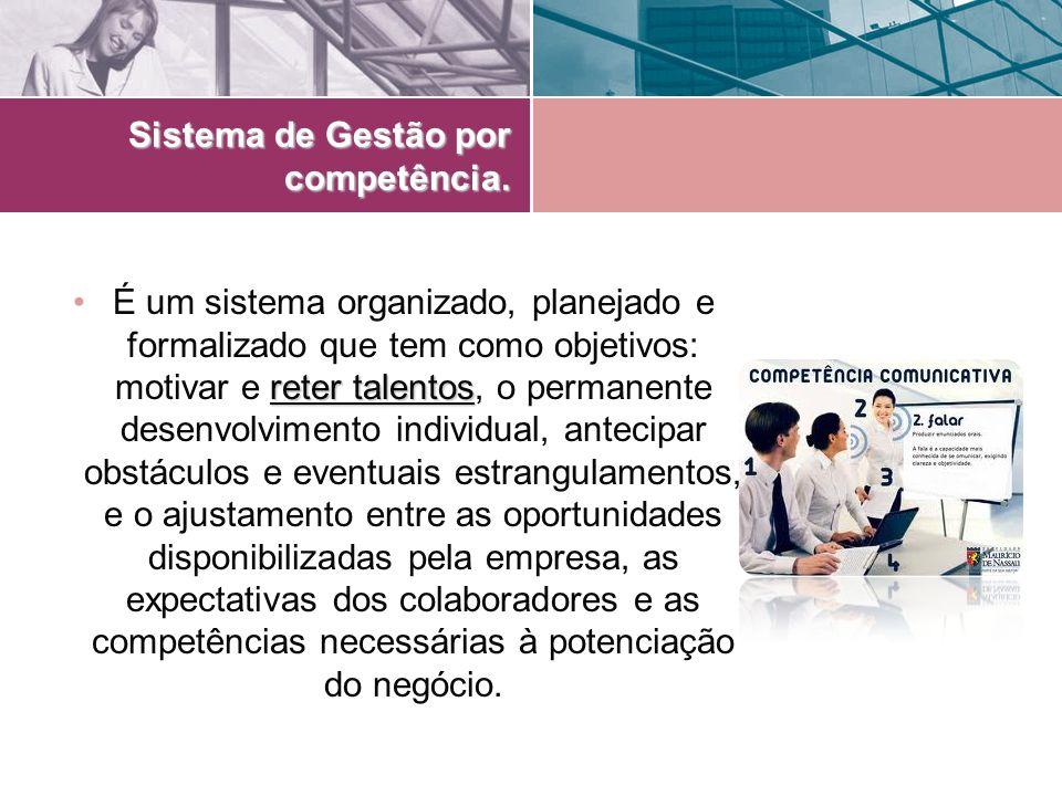 Sistema de Gestão por competência. reter talentosÉ um sistema organizado, planejado e formalizado que tem como objetivos: motivar e reter talentos, o