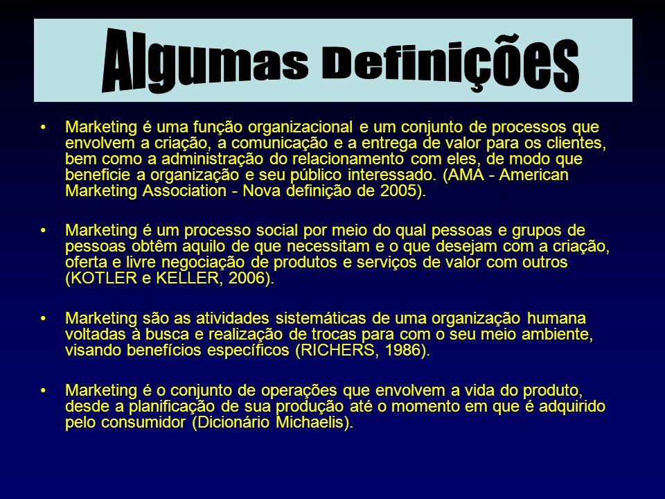. Marketing é uma função organizacional e um conjunto de processos que envolvem a criação, a comunicação e a entrega de valor para os clientes, bem co