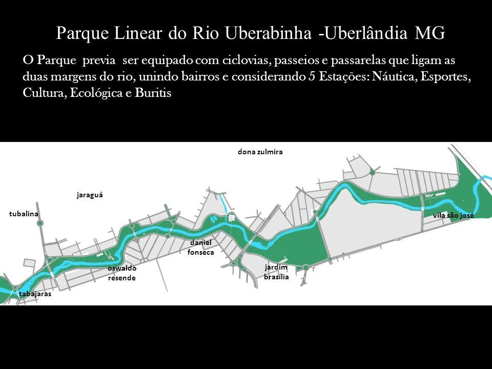 Parque Linear do Rio Uberabinha -Uberlândia MG O Parque previa ser equipado com ciclovias, passeios e passarelas que ligam as duas margens do rio, uni