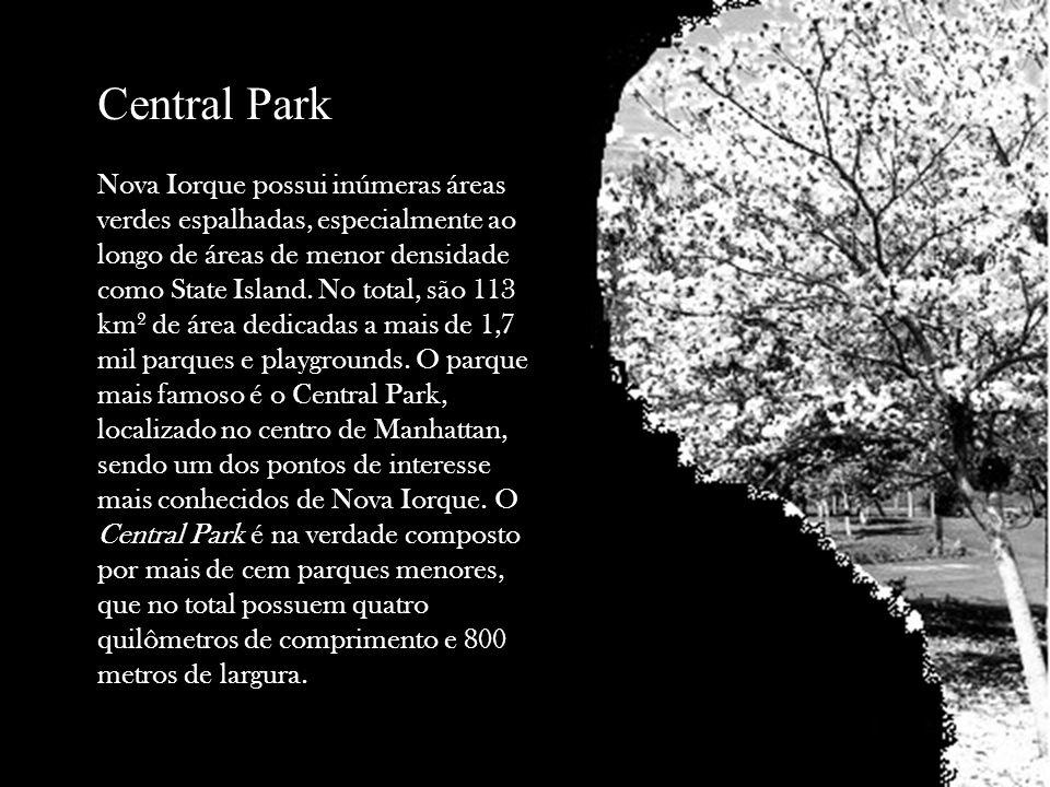 Central Park Nova Iorque possui inúmeras áreas verdes espalhadas, especialmente ao longo de áreas de menor densidade como State Island. No total, são