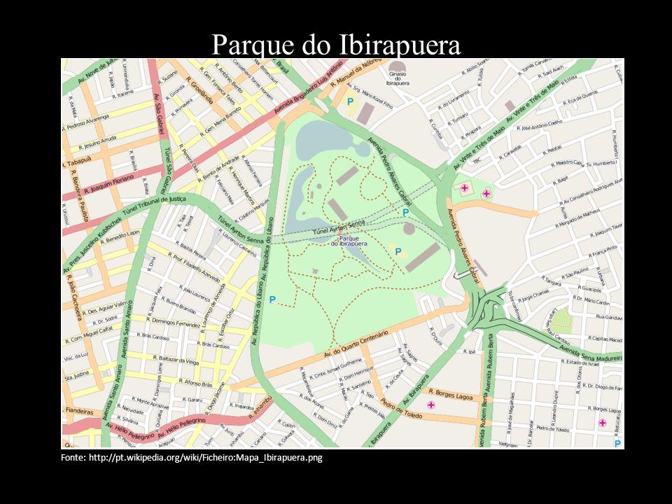 Parque do Ibirapuera Fonte: http://pt.wikipedia.org/wiki/Ficheiro:Mapa_Ibirapuera.png