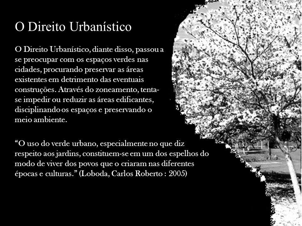 O Direito Urbanístico, diante disso, passou a se preocupar com os espaços verdes nas cidades, procurando preservar as áreas existentes em detrimento d