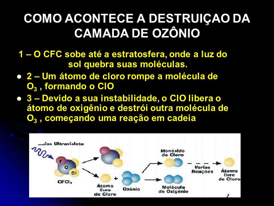 COMO ACONTECE A DESTRUIÇAO DA CAMADA DE OZÔNIO 1 – O CFC sobe até a estratosfera, onde a luz do sol quebra suas moléculas. 2 – Um átomo de cloro rompe