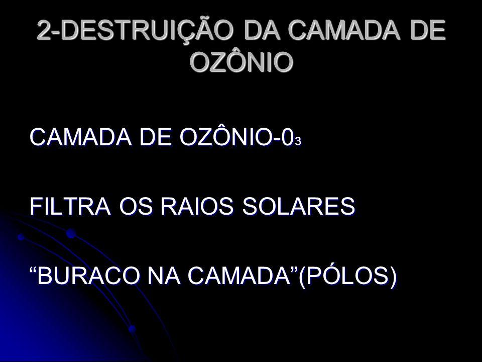 2-DESTRUIÇÃO DA CAMADA DE OZÔNIO CAMADA DE OZÔNIO-0 3 FILTRA OS RAIOS SOLARES BURACO NA CAMADA(PÓLOS)
