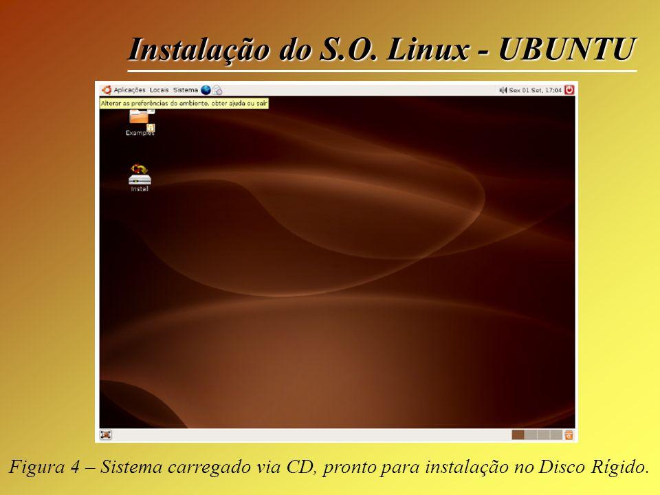 Instalação do S.O. Linux - UBUNTU Figura 4 – Sistema carregado via CD, pronto para instalação no Disco Rígido.