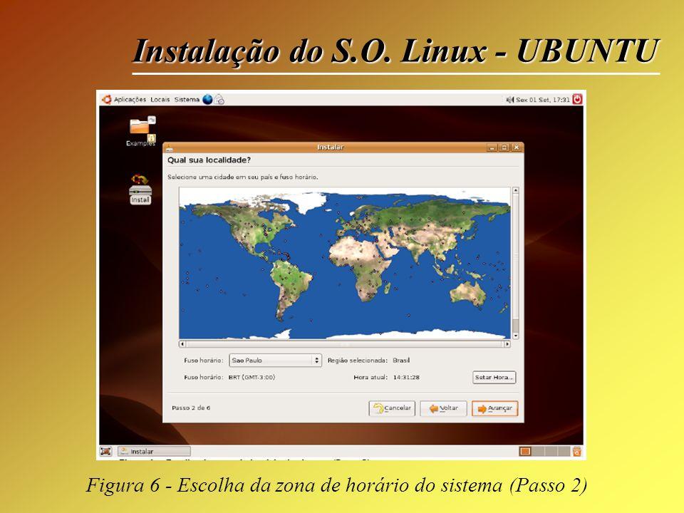 Instalação do S.O. Linux - UBUNTU Figura 6 - Escolha da zona de horário do sistema (Passo 2)