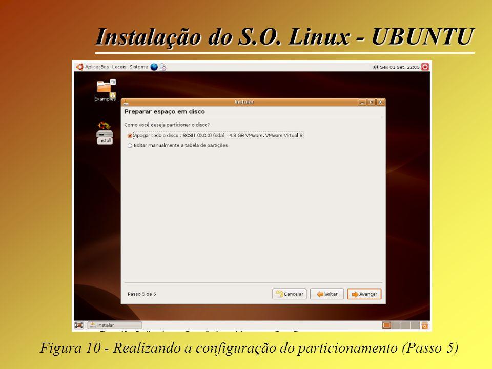Instalação do S.O. Linux - UBUNTU Figura 10 - Realizando a configuração do particionamento (Passo 5)