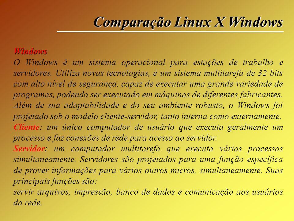 Comparação Linux X Windows Windows O Windows é um sistema operacional para estações de trabalho e servidores. Utiliza novas tecnologias, é um sistema