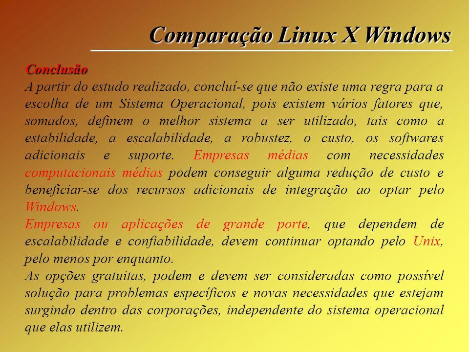 Comparação Linux X Windows Conclusão A partir do estudo realizado, concluí-se que não existe uma regra para a escolha de um Sistema Operacional, pois