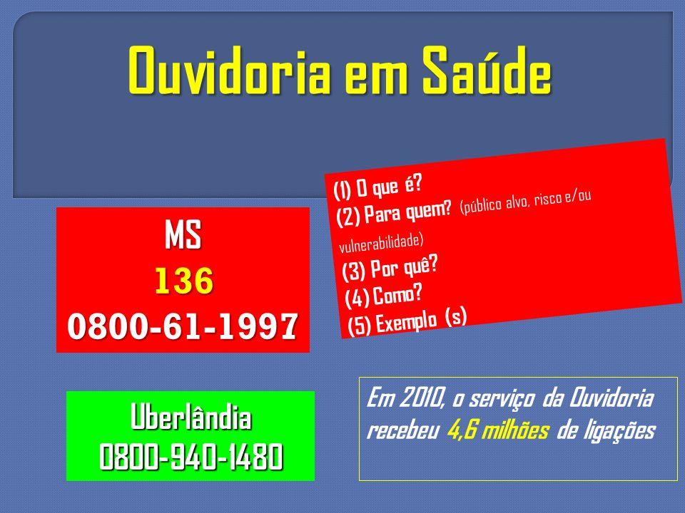 Ouvidoria em Saúde Em 2010, o serviço da Ouvidoria recebeu 4,6 milhões de ligações MS1360800-61-1997 Uberlândia0800-940-1480 (1) O que é? (2) Para que