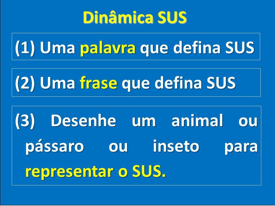 (1) Uma palavra que defina SUS (2) Uma frase que defina SUS (3) Desenhe um animal ou pássaro ou inseto para representar o SUS. Dinâmica SUS
