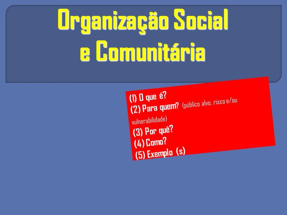 Organização Social e Comunitária (1) O que é? (2) Para quem ? (público alvo, risco e/ou vulnerabilidade) (3) Por quê? (4) Como? (5) Exemplo (s)