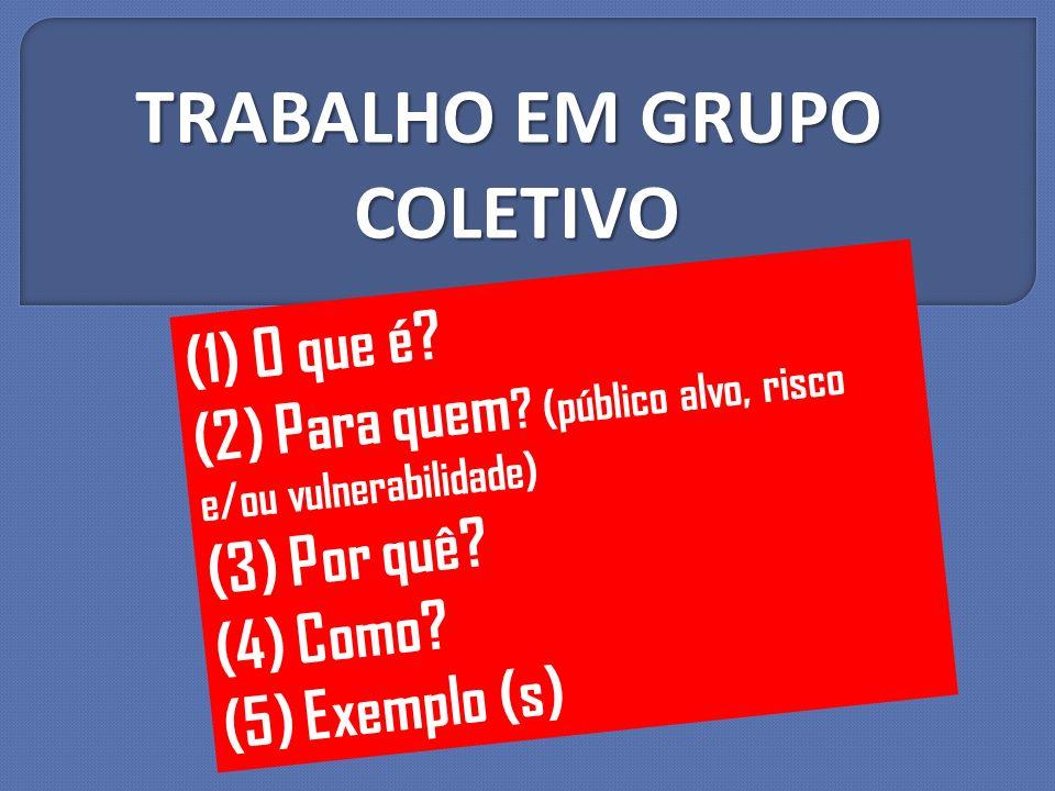 (1) O que é? (2) Para quem ? (público alvo, risco e/ou vulnerabilidade) (3) Por quê? (4) Como? (5) Exemplo (s) TRABALHO EM GRUPO COLETIVO