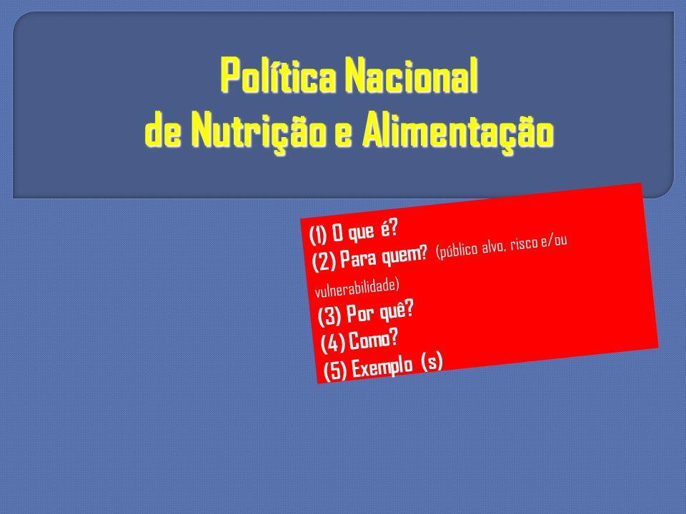 Política Nacional de Nutrição e Alimentação (1) O que é? (2) Para quem ? (público alvo, risco e/ou vulnerabilidade) (3) Por quê? (4) Como? (5) Exemplo