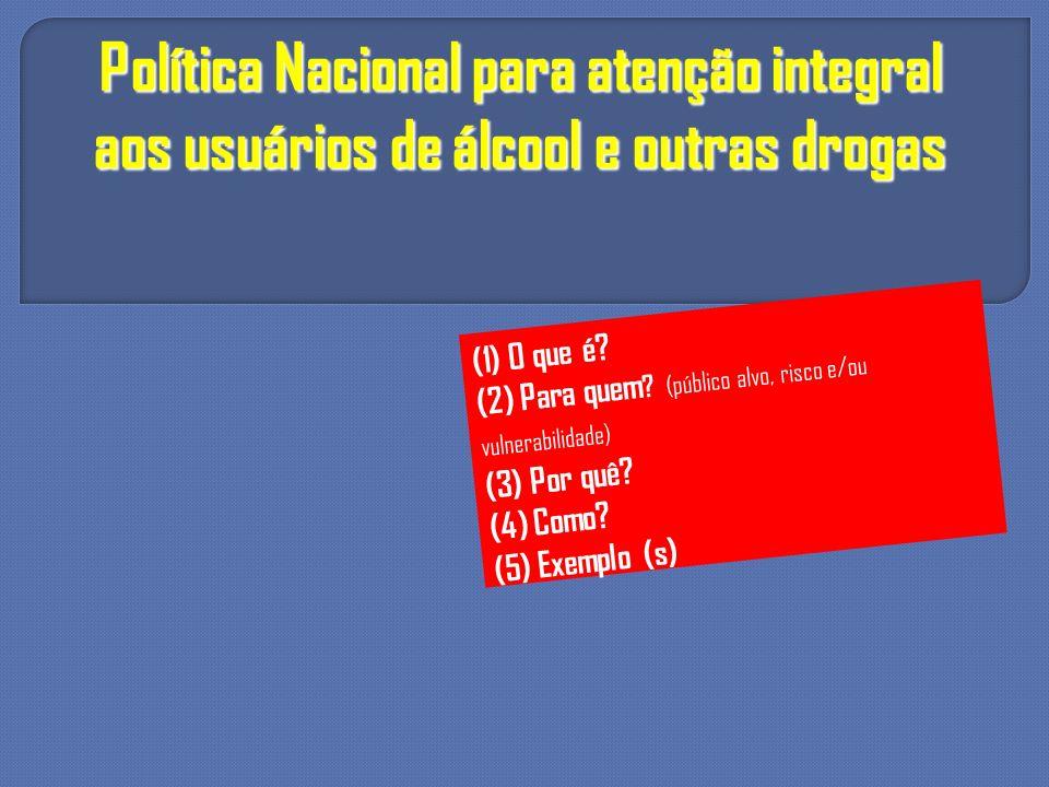 Política Nacional para atenção integral aos usuários de álcool e outras drogas (1) O que é? (2) Para quem ? (público alvo, risco e/ou vulnerabilidade)