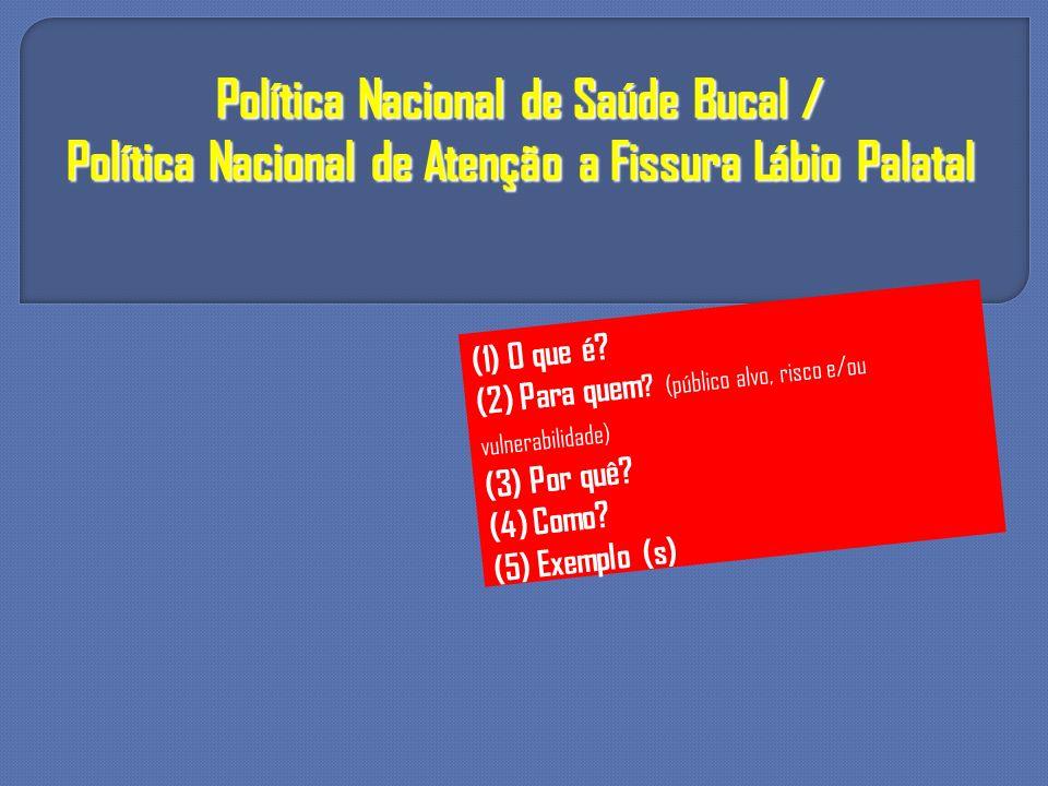 Política Nacional de Saúde Bucal / Política Nacional de Atenção a Fissura Lábio Palatal (1) O que é? (2) Para quem ? (público alvo, risco e/ou vulnera