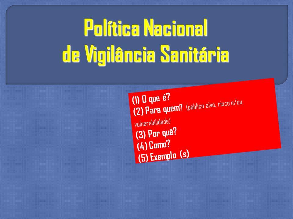Política Nacional de Vigilância Sanitária (1) O que é? (2) Para quem ? (público alvo, risco e/ou vulnerabilidade) (3) Por quê? (4) Como? (5) Exemplo (