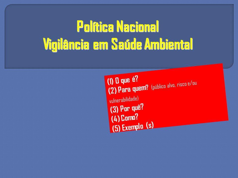 Política Nacional Vigilância em Saúde Ambiental (1) O que é? (2) Para quem ? (público alvo, risco e/ou vulnerabilidade) (3) Por quê? (4) Como? (5) Exe
