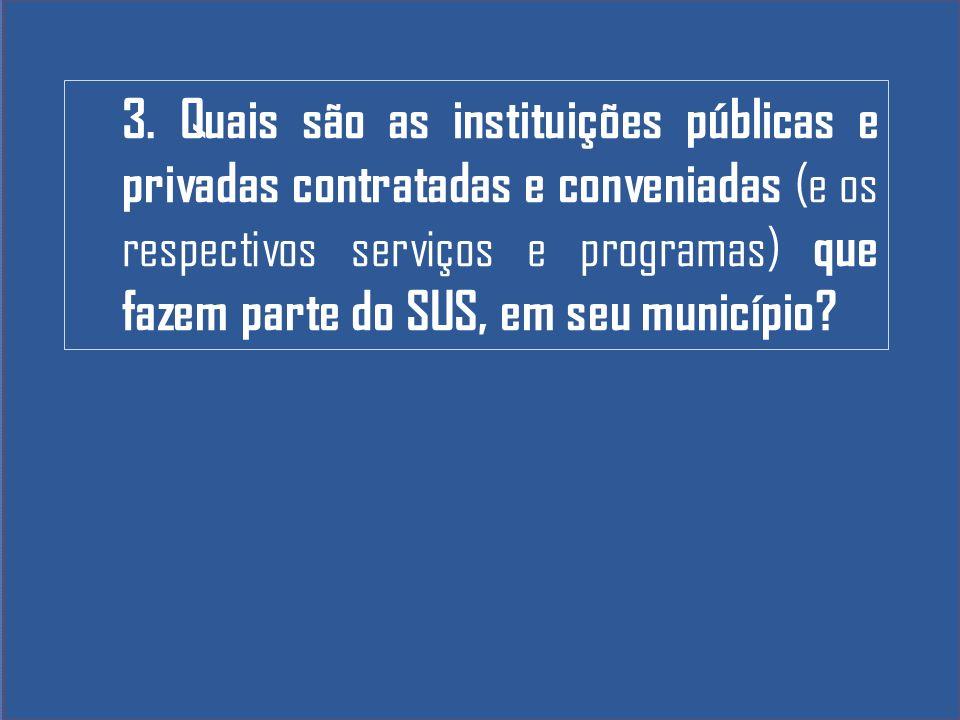 3. Quais são as instituições públicas e privadas contratadas e conveniadas (e os respectivos serviços e programas) que fazem parte do SUS, em seu muni