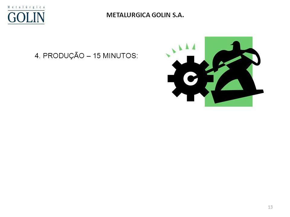 13 METALURGICA GOLIN S.A. 4. PRODUÇÃO – 15 MINUTOS: