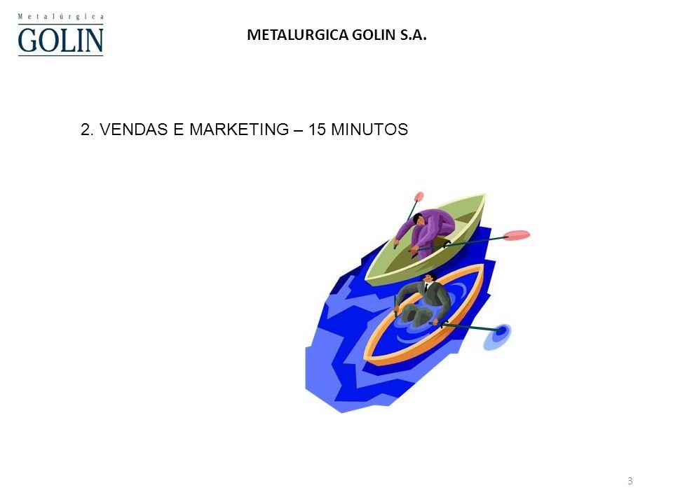 3 METALURGICA GOLIN S.A. 2. VENDAS E MARKETING – 15 MINUTOS
