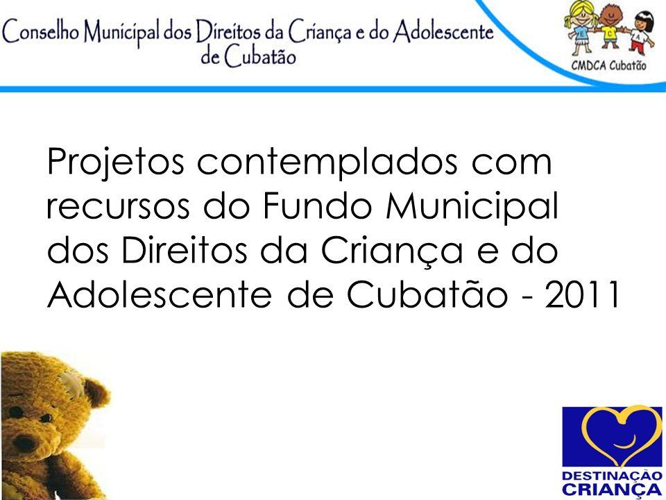 Projetos contemplados com recursos do Fundo Municipal dos Direitos da Criança e do Adolescente de Cubatão - 2011