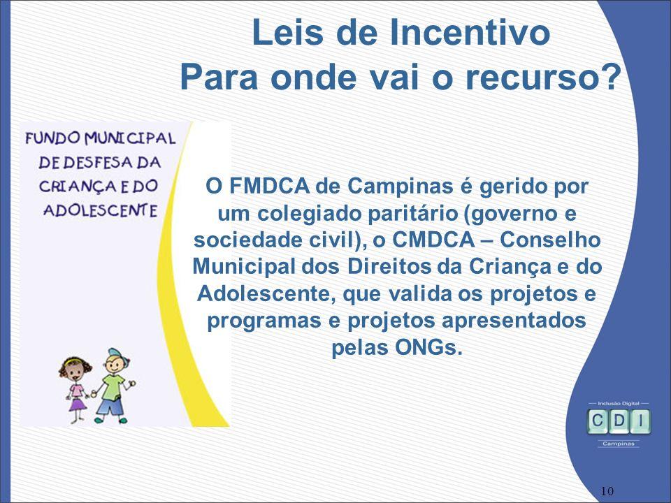 10 O FMDCA de Campinas é gerido por um colegiado paritário (governo e sociedade civil), o CMDCA – Conselho Municipal dos Direitos da Criança e do Adol