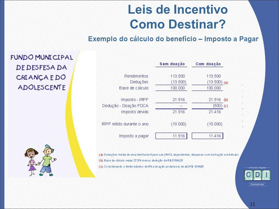 11 Leis de Incentivo Como Destinar? Exemplo do cálculo do benefício – Imposto a Pagar