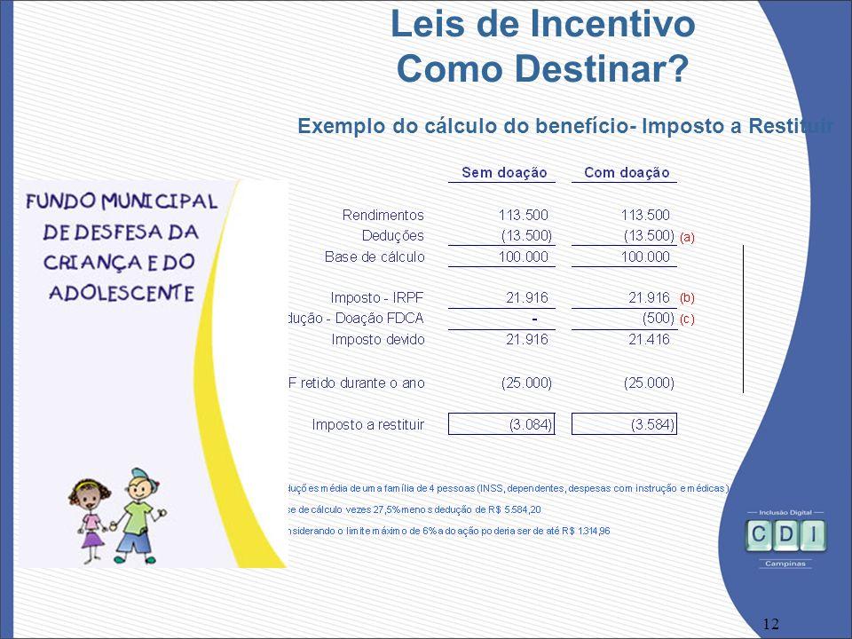12 Leis de Incentivo Como Destinar? Exemplo do cálculo do benefício- Imposto a Restituir