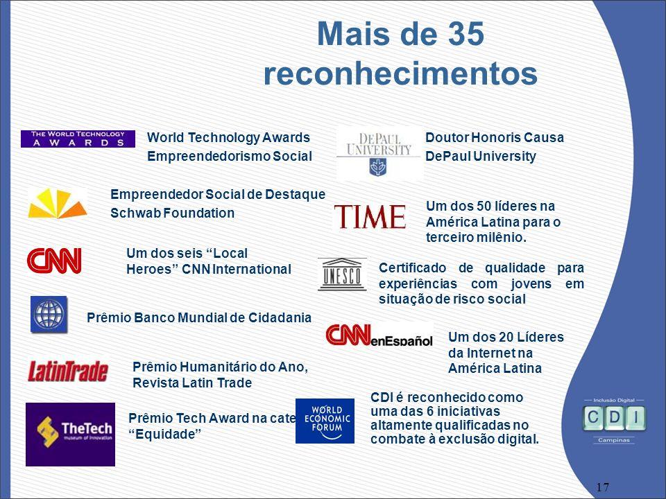17 Mais de 35 reconhecimentos Um dos 20 Líderes da Internet na América Latina World Technology Awards Empreendedorismo Social Doutor Honoris Causa DeP