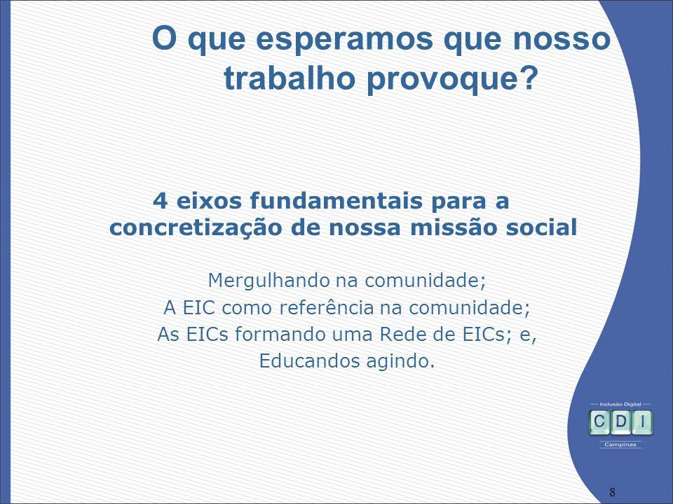8 O que esperamos que nosso trabalho provoque? 4 eixos fundamentais para a concretização de nossa missão social Mergulhando na comunidade; A EIC como