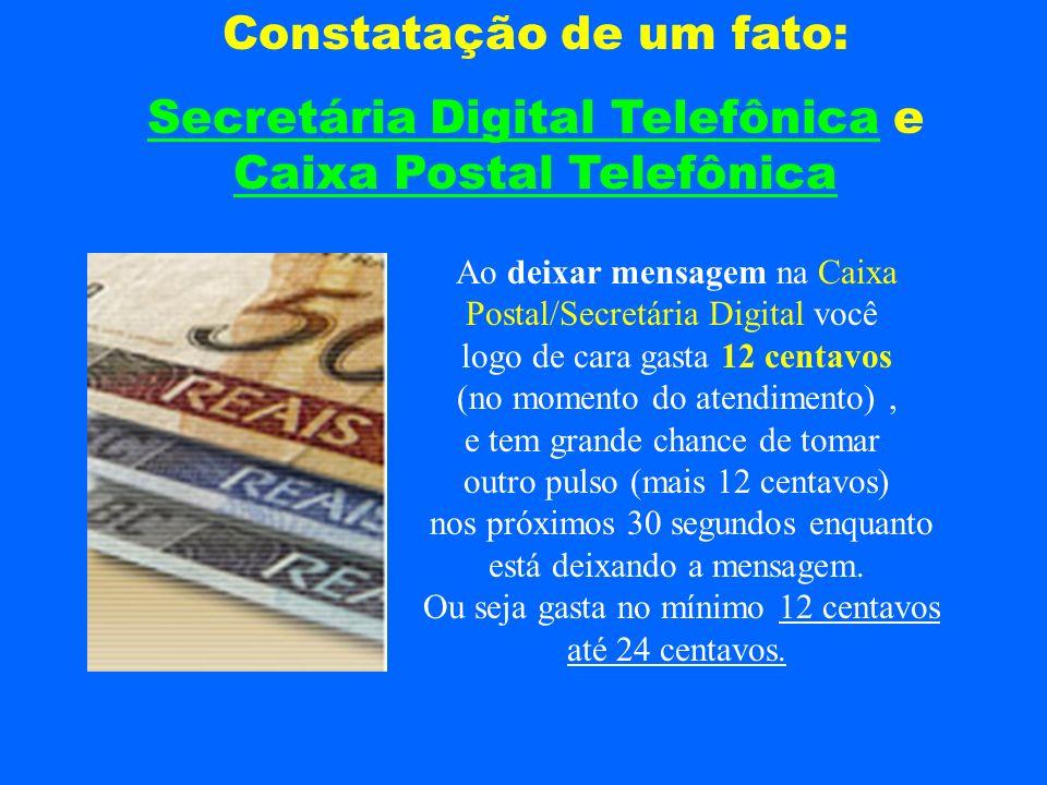 Constatação de um fato: Secretária Digital Telefônica e Caixa Postal Telefônica Ao deixar mensagem na Caixa Postal/Secretária Digital você logo de car