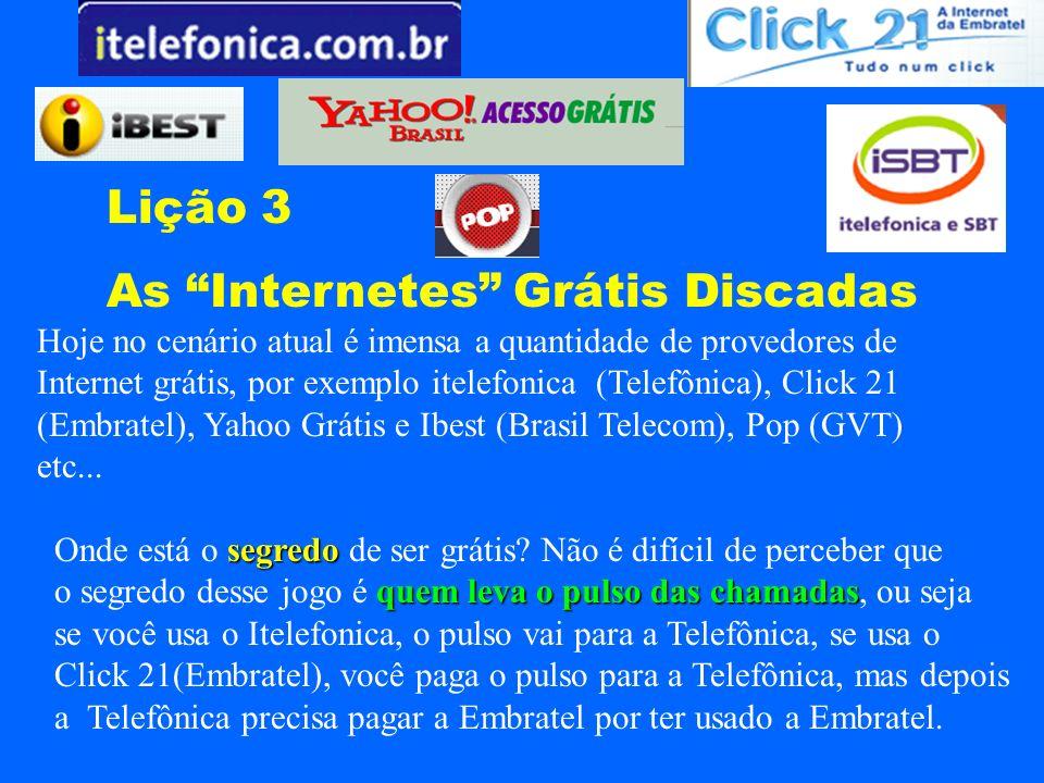 Lição 3 As Internetes Grátis Discadas Hoje no cenário atual é imensa a quantidade de provedores de Internet grátis, por exemplo itelefonica (Telefônic
