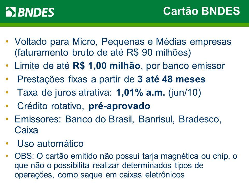 Cartão BNDES Voltado para Micro, Pequenas e Médias empresas (faturamento bruto de até R$ 90 milhões) Limite de até R$ 1,00 milhão, por banco emissor P