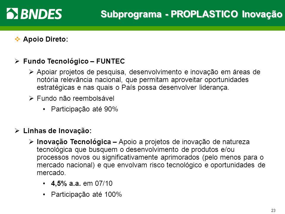 Subprograma - PROPLASTICO Inovação 23 Apoio Direto: Fundo Tecnológico – FUNTEC Apoiar projetos de pesquisa, desenvolvimento e inovação em áreas de not