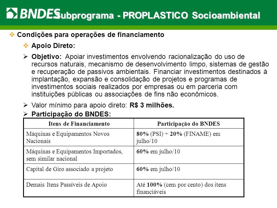 Subprograma - PROPLASTICO Socioambiental Condições para operações de financiamento Apoio Direto: Objetivo: Apoiar investimentos envolvendo racionaliza