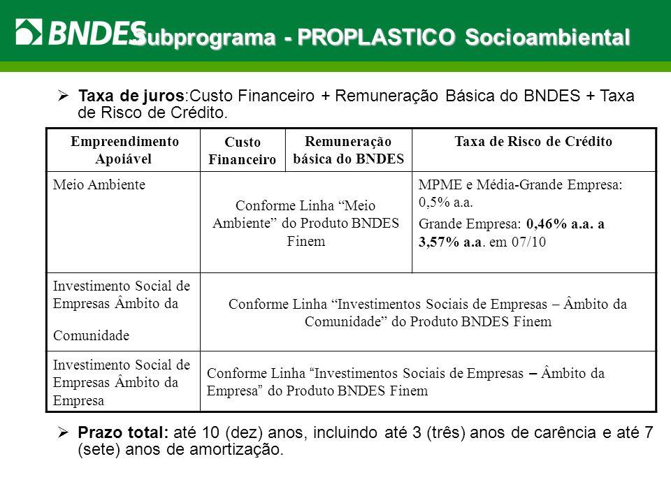 Subprograma - PROPLASTICO Socioambiental Taxa de juros:Custo Financeiro + Remuneração Básica do BNDES + Taxa de Risco de Crédito. Prazo total: até 10