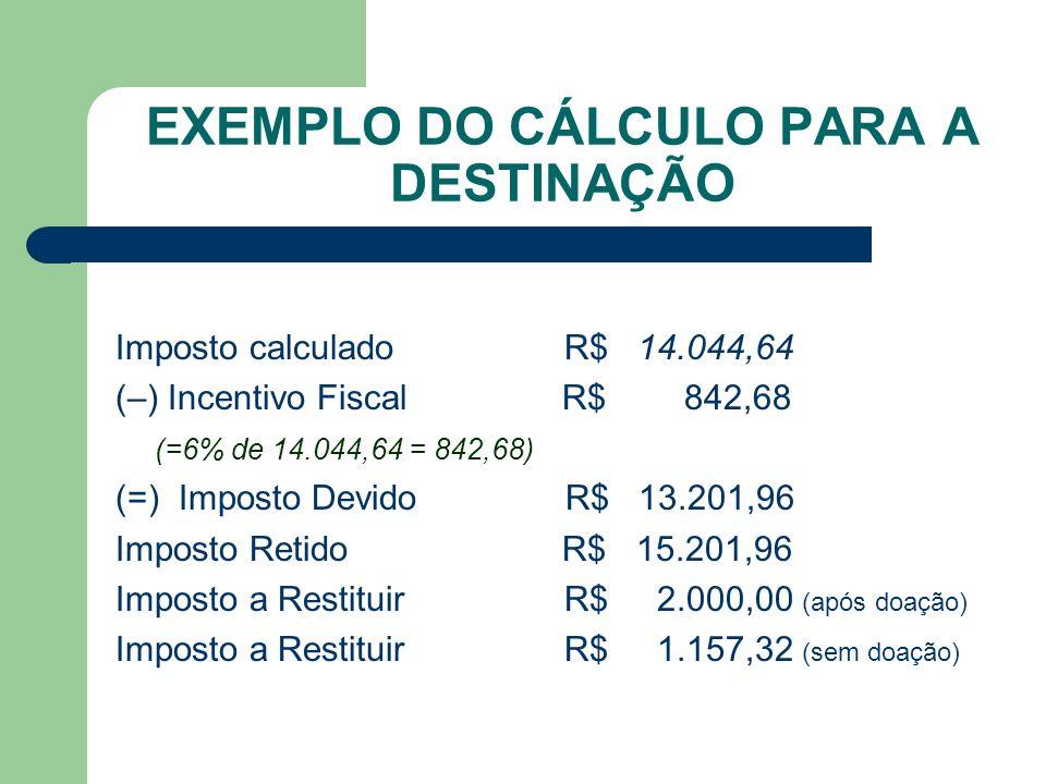 EXEMPLO DO CÁLCULO PARA A DESTINAÇÃO Imposto calculado R$ 14.044,64 (–) Incentivo Fiscal R$ 842,68 (=6% de 14.044,64 = 842,68) (=) Imposto Devido R$ 1